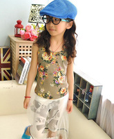 children clothing Girl T shirt  kids Floral Modal Vest Korean version of the retro vest T-shirt .5pcs/lot