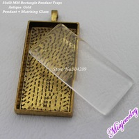 Wholesale Antique Gold 25x50mm Rectangle Blank Pendant Tray Settings Matching Clear Glass Cabochon For Jewelry Making
