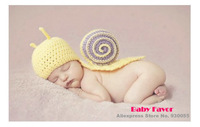Free Shipping  1pc Kid Toddler Infant Newborn Baby Girl Boy Snail knitted Crochet Clothes Outfit Costume Photo Prop Halloween