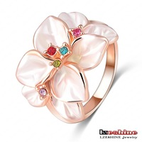 Christmas Big Sale Jewelry Ring Rose Gold Plt SWA Elements Austrian Crystal White Enamel Flower Ring For Women Ri-HQ1006-A