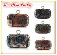 Hot Women's sequined Hard Case Ring Clutch. Peacock Pattern Handbag Evening Bag. Long & Short Chain Tote Bag Shoulder Messenger
