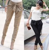 Fashion high women's Skinny Long Trousers OL casual Bow harem pants  Chic Suit  Black, Khaki mulheres justas Calcas arco