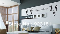 Free Shipping Figure Skating Sports Wall Art Stickers Decal Home Decoration Wall Mural Removable Bedroom stickers  75x38cm