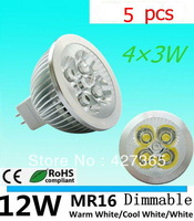 5X High Power Dimmable MR16 GU10 E27 B22 E14 GU5.3 4x3W 12W Spotlight Lamp 4 CREE LED 12V Light Bulb Downlight