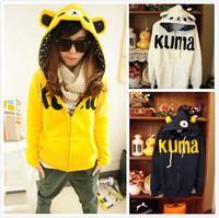 Winter 2014 100% Cotton Cute Cartoon Anime Rilakkuma Bear Hoodie set with Ears Yellow Grey Blue Women Coats Jacket Sweatshirt