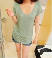 2014 women's cotton V neck t shirt,ladies fashion t shirt,basic shirt,5 colors,Free shipping TOP001