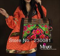 New 2013 Fashion Handbag Original Design Embroidery Flower Shoulder Bag/Tote Hot Sale Female Ring Retro Tactical