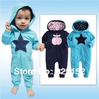 3pcs/lot Apple & Star Baby Spring Autumn hooded romper Grow Long Sleeve Bodysuit Jumpsuit  Outwear Rompers