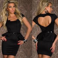 Sexy Black Short Sleeves Sheath Peplum Ruffle Spring Summer Dress Brand Bodycon Pencil Heart Shape Open Back Dress with Belt M L