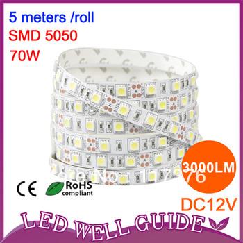 wholesale 500m 300 LED 5050 SMD 12V flexible light 60 led/m,LED strip,bottom price, white/warm white/blue/green/red/yellow