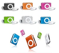 Hot sale Cheap 1PC mini Clip mp3 player support TF/micro sd card with earphone+USB cable Free shipping