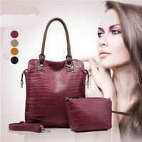 Free shipping  Crocodile Pattern Genuine PU Leather Women Handbags Brand Ladies shoulder bags Popular Totes bags