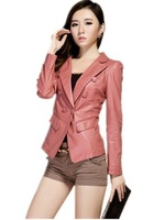 Free Shipping 2013 Hot Big size Short  Women's Leather Jacket  Cheap Korean Slim Double-breasted  -XL-XXL-XXXL