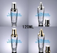 E2Capacity 120ml free shipping 200pcs/lot Black bottle clear glass pressure bottle bright gold mercury lotion bottles Stock