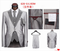 2013 New Coming Wedding Suits for Men 5 Pieces Top Quanlity Brand Names S-4XL Free Shipping