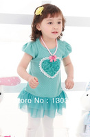 2013 Hot selling New Beautiful girl dress with love heart Loving heart design 2 colors: Pink and Blue Popular style