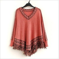 Women Batwing Sleeve Tassels Hem Style Cloak Poncho Cape Tops Knitting Sweater Coat Shawl 4colors free shipping