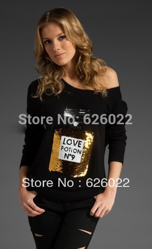 2013 Autumn Woman Love Positon No.9 Perfume Print Slouchy Sequin Bling Cardigan Sweater Tee Ladies Loose To