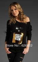 2013 Autumn Woman Love Positon No.9 Perfume Print Slouchy Sequin Bling Cardigan Sweater Tee Ladies Loose Tops Free shipping