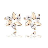 Fashion design Snowflake/flower fashion jewelry/ crystal 18k real gold plated earring studs WL0187- white/red/pink