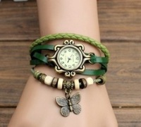 New Arrivals Butterfly pendant bracelet watches,100% GENUINE Leather Hand Knit Vintage Watches,Factory Dropshipping