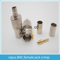 Hot Sale 10pcs BNC female jack crimp RG58 RG142 LMR195 RG400 cable RF connector Drop Shipping