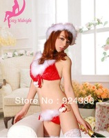 hot sexy christmas costume red bra set decorated white fur  women's sexy lingerie belt underwear suit set