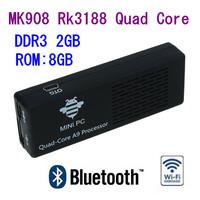 Whole sale 5pcs/lots MK908 Quad Core Rk3188 Cortex-A9 1.8GHz 2GB / 8GB Bluetooth Android mini PC Google TV Box Dongle Stick