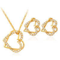 18K Real Gold Plated Hearts Pendant Necklace Earrings Jewelry Sets Austrian Rhinestone Luxury Jewellery Gift For Women MGC S717