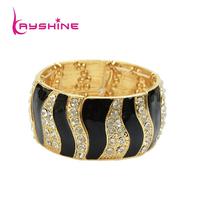 Hot Selling Fashion Elastic Colorful Rhinestone Enamel Bangles and Bracelets Black  Striped Bangles for Women