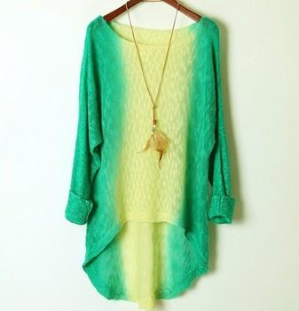 2014 новых женщин широкий градиент цвет свитера дамы длинный рукав женская платье ...