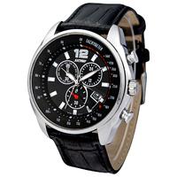 Skmei Brand New 2014 Men Genuine Leather Strap Quartz Watches Casual Sports Calendar Relogios Analog Wristwatch Waterproof 30m