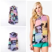 Factory production!2013 hot Brand Floral cocotree Image Women Fashion Turn-down collar  Sleeveless Sexy Chiffon Top/Blouse Shirt
