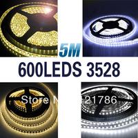 Mail Free  DC 12V 5M 3528 120 LED Light Strip  Red/Yellow/Blue/Green/White/Warm White LED Strip