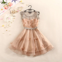 2014 Summer High Quality Women Dress Girls Lady Sweet And Elegant Crochet Butterfly Organza Dresses Party Dress Free Shipping