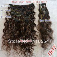 14inch 8PCS/Set Clips in hair brazilian deep curl hair Extensions Brazilian Hair weaving Free Shipping