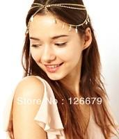 High Quality Leaf Pendant Charming Crystal Head Chain Hair Band Jewelry
