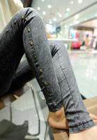 Brand New Woman Jeggings Skull Studded Denim Jeans Leggings Ankle Length Black Jeggings Free Size