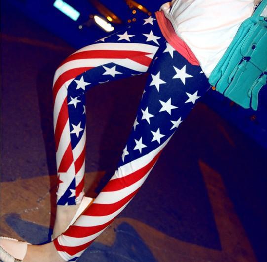 [해외]HOT 인기있는 슬림 탄성 미국 미국 국기 성조기 레깅스, wm..