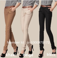 2013 women's casual design long slim pencil pants women pants straight harem women pants with belt