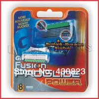 Free Shipping hot Grade AAAAA 8pcs/pack Power razor blade men sharpener shaving razors blades Retail packaging (8pcs = 1lot)