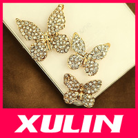 3pcs/set, Different Size Rhinestone Butterfly Sticker Cabochons For Diy Cell Phone Decoration