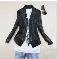 Free Shipping New 2015 Women leather Jacket , Brand Plus Size Black PU Koren leather Coat Hot-Selling M-L-XL-XX-XXXL-XXXXL