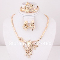 Free Shipping New Design African Gold Plated Necklace Vintage Bridal Wedding Party Women Jewelry Sets