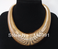 New Arrival Unique Gold Plated Fashion Choker Bib Chunky Statement Necklaces Jewelry for women