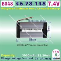 [B048] 7.4V,3000mAH,[4678148]  PLIB (polymer lithium ion battery ) Li-ion battery  for tablet pc,GPS,e-book