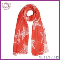 2014 New Arrival Fashion Style Lovely Starfish Polyester Infinity ScarfScarf/shawl  for Women Wholesale,90*180 free shipping