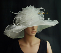 Ivory cream Large brim Organza Hat with big organza trim and feathers for church wedding races.