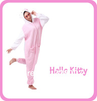 Pink and White Hello Kitty Cats Onesies Halloween Cosplay Jumpsuit for Adult and Children