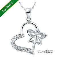 Wholesale New 2014 Fashion 925 Sterling Silver Necklace Zirconia Crystal Love Heart and Butterly Pendant For Women Party Gifts